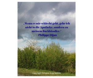 """""""Wenn es mir schlecht geht, gehe ich nicht in die Apotheke, sondern zu meinem Buchhändler.""""– Philippe Dijan"""